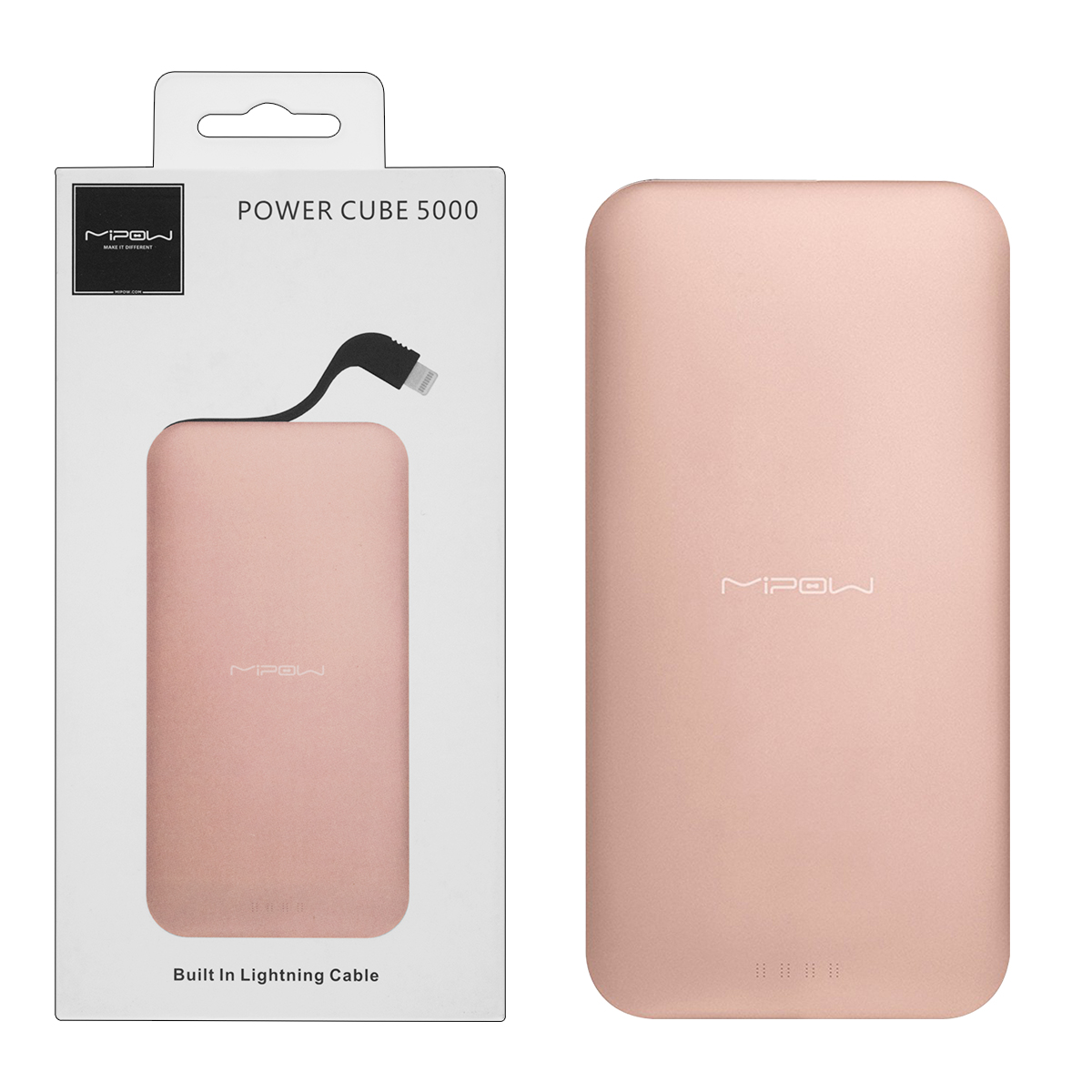 MiPow Power Cube 5000 Portable Charger with Lightning Connector – Rose Gold